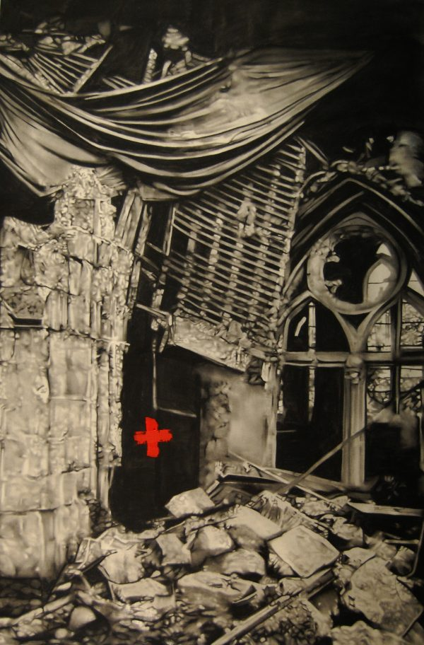 MS-040, Ruins, with cross, 2010, Oil, charcoal and human ash on canvas, 72×48 in, 300dpi